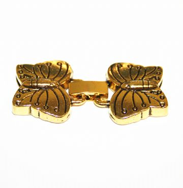 1set x Antique gold butterfly clasp